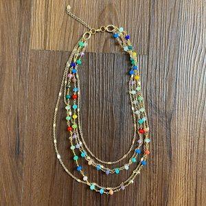 Monet gold multicolor rainbow 5 strand necklace